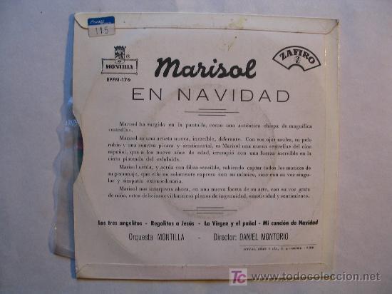 Discos de vinilo: MARISOL EN NAVIDAD. VILLANCICOS . ( MONTILLA / ZAFIRO 1960) . VINILO COLOR - Foto 3 - 27584961