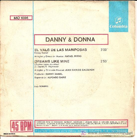 Discos de vinilo: DANNY & DONNA / EL VALS DE LAS MARIPOSAS / DREAMS LIKE MINE / COLUMBIA 1971 - Foto 2 - 26786319