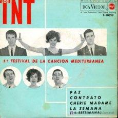 Discos de vinilo: LOS TNT - PAZ / CONTRATO / CHERIE MADAME / LA SEMANA - EP - 1963. Lote 26757485