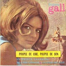 Discos de vinilo: FRANCE GALL EP PHILIPS 1963 437 032 BE 1 PREMIO EUROVISION POUPEE DE CIRE POUPE DE SON MAS 3 TEMAS. Lote 8268410