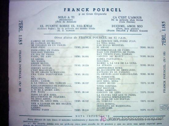 Discos de vinilo: FRANCK POURCEL - Foto 2 - 26817939