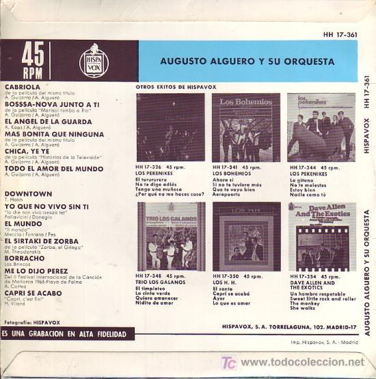 Discos de vinilo: AUGUSTO ALGUERO Y SU ORQUESTA disco single HISPAVOX HH 17-361 1966 SPA - Foto 2 - 24144137