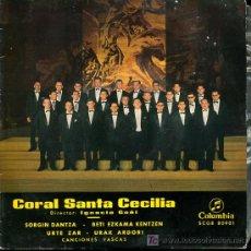 Discos de vinilo: CORAL SANTA CECILIA - SORGIN DANTZA / BETI EZKAMA KENTZAN / URTE ZAR / URAK ARDORI - EP1965-EUSKERA . Lote 27344286