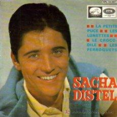Discos de vinilo: SACHA DISTEL-LA PETITE PUCE + LE CROCODILE + LES PERROQUETS + LES LUNETTES EP 1966 EDITADO. Lote 5651834