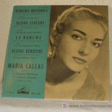 Discos de vinilo: MARIA CALLAS CANTA :MADAMA BUTTERFLY,LA BOHEME,...AÑO 1959,45 RPM. Lote 20492886