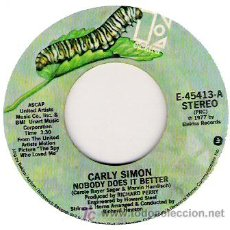 Discos de vinilo: CARLY SIMON -NOBODY DOES IT BETTER / AFTER THE STROM 1973. Lote 5711221