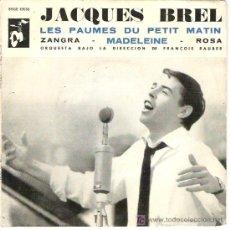 Discos de vinilo: JACQUES BREL -LES PUMES DU PETIT MATIN - MUY BUSCADO 1962. Lote 18934840