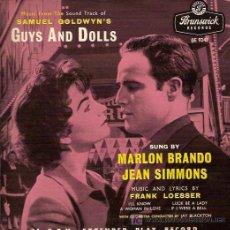 Discos de vinilo: MARLON BRANDO/JEAN SIMMONS EP SELLO BRUNSWICK EDICION INGLESA DEL FILM ELLOS Y ELLAS. Lote 5846705