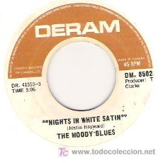 Discos de vinilo: THE MOODY BLUES NIGHTS IN WHITE SATIN / CITIES. Lote 5867779