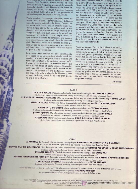 Discos de vinilo: POETAS EN NUEVA YORK LP CON ENCARTE LETRAS DE LAS CANCIONES ORIGINAL CBS 1986 VARIOS ARTISTAS - Foto 2 - 20595237