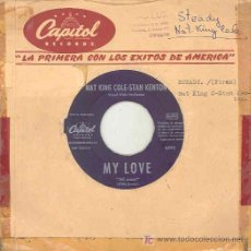 Discos de vinilo: NAT KING COLE WITH STAN KENTON - MY LOVE / STEADY - SINGLE ESPAÑOL DE 1961. Lote 5977796