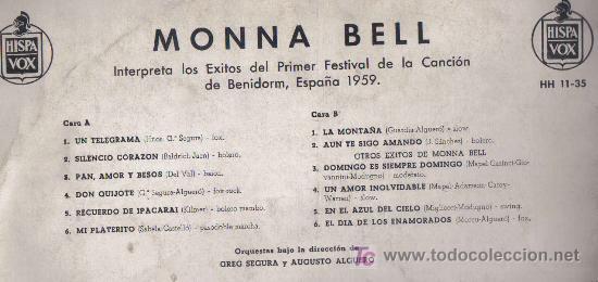 Discos de vinilo: LP MONNA BELL -INTERPRETA LOS EXITOS DEL I FESTIVAL DE BENIDORM 1959 - GREG SEGURA AUGUSTO ALGUERO - Foto 4 - 27354102