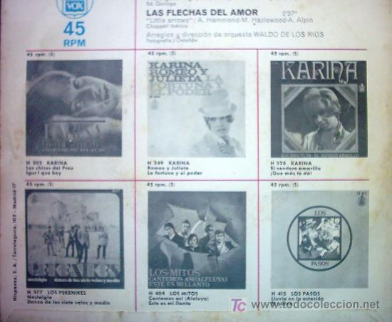 Discos de vinilo: KARINA LA FIESTA/ LAS FLECHAS DEL AMOR - Foto 2 - 24235597