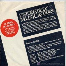 Discos de vinilo: HISTORIA DE LA MUSICA CODEX - PRESENTACION - SINGLE ESPAÑOL DE 1965. Lote 6215677