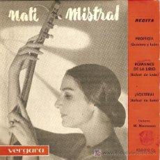 Discos de vinilo: NATI MISTRAL EP SELLO VERGARA AÑO 1962 RECITA A RAFAEL DE LEON. Lote 6269011