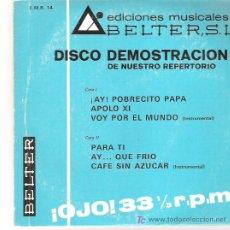 Discos de vinilo: DISCO DE DEMOSTRACION BELTER -* TONY CLAY / CONCHITA BAUTISTA MANUEL GOMEZ Y SUS CANSADOS **1969. Lote 12390551