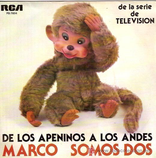 MARCO DE LOS APENINOS A LOS ANDES SINGLE DE LA SERIE DE TELEVISION AÑO 1977 (Música - Discos - Singles Vinilo - Otros estilos)