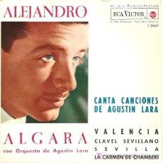 Discos de vinilo: ALEJANDRO ALGARA EP SELLO RCA VICTOR AÑO 1962 CANTA CANCIONES DE AGUSTIN LARA.. Lote 6717211