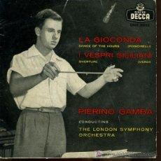 Discos de vinilo: PIERINO GAMBA. ORQUESTA SÍNFONICA DE LONDRES - LA GIOCONDA / I VESPRI SICILIANI - 195?. Lote 16863048