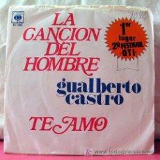 Discos de vinilo: GUALBERTO CASTRO ( LA CANCION DEL HOMBRE - TE AMO) 1º KUGAR 2º FESTIVAL 'OTI' MEXICO-1973. Lote 6797817