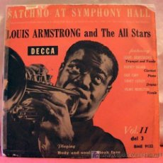 Discos de vinilo: LOUIS ARMSTRONG & THE ALL STARS VOL.3 ( BODY AND SOUL - STEAK FACE ) 1955 SINGLE45. Lote 6808939