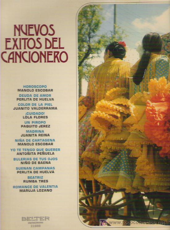 NUEVOS EXITOS DEL CANCIONERO *** EN BELTER 1972 (Música - Discos - LP Vinilo - Flamenco, Canción española y Cuplé)