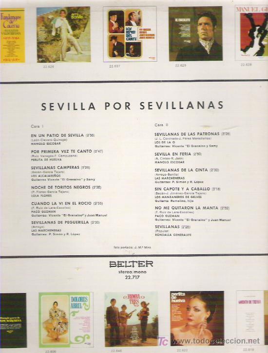Discos de vinilo: SEVILLA POR SEVILLANAS *** PERLITA DE HUELVA / PACO GUZMN / LOS DE LA O EN BELTER 1972 - Foto 2 - 9220358