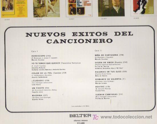 Discos de vinilo: NUEVOS EXITOS DEL CANCIONERO *** EN BELTER 1972 - Foto 2 - 9220355