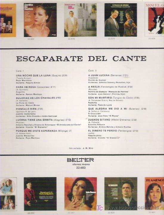 Discos de vinilo: ESCAPARATE DEL CANTE **** EN BELTER 1972 - Foto 2 - 9220359