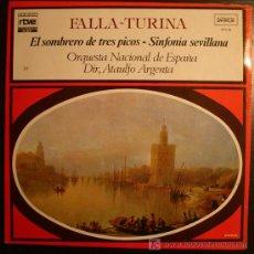 Discos de vinilo: LP - FALLA -TURINA - EL SOMBRERO DE TRES PICOS - SINFONIA SEVILLANA - COLECCION RTVE - 1977. Lote 9174901