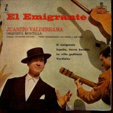 Discos de vinilo: JUANITO VALDERRAMA - EL EMIGRANTE / ESPAÑA, TIERRA BENDITA / LA NIÑA GADITANA / VERDIALES - EP 1959. Lote 13760829