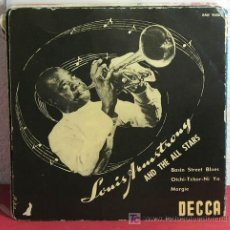 Discos de vinilo: LOUIS ARMSTRONG AND THE ALL-STARS ?– BASIN STREET BLUES, SWEDEN 1955 EP DECCA. Lote 7217774