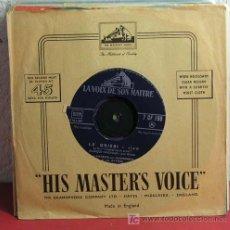 Discos de vinilo: JEAN PATRICE SON HARMONICA ET SES RYTMES ( LE GRISBI - GRISBI BLUES ) 1954-FRANCE SINGLE45 HMV. Lote 7287867