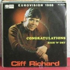 Discos de vinilo: CLIFF RICHARD 'EUROVISION 1968' ( CONGRATULATIONS - HIGH 'N' DRY ) BARCELONA-1968 SINGLE45 . Lote 7453493