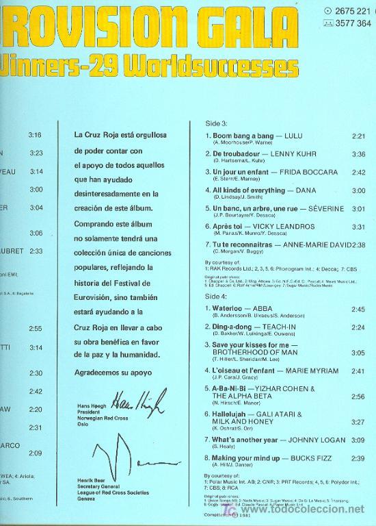 Discos de vinilo: EUROVISION GALA LP 2 CARPETA DOBLE CON FOTOS. 29 WINNERS 1956-1981 SPA 1981 2675 221 VER FOTO - Foto 3 - 7638339