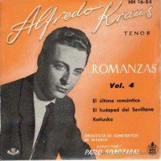 Discos de vinilo: ALFREDO KRAUS - PABLO SOROZABAL : ROMANZAS VOL.4 , EP 1959 HISPAVOX , COMO NUEVO. Lote 7784238