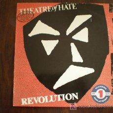 Discos de vinilo: THEATRE OF HATE - REVOLUTION, THE SINGLES ALBUM - (ESPAÑA-TWINS-1984) GOTHIC PUNK LP. Lote 25366609