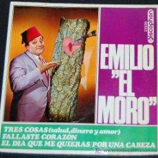 Discos de vinilo: SINGLE EMILIO EL MORO. TRES COSAS: SALUD, DINERO Y AMOR. Lote 8049302