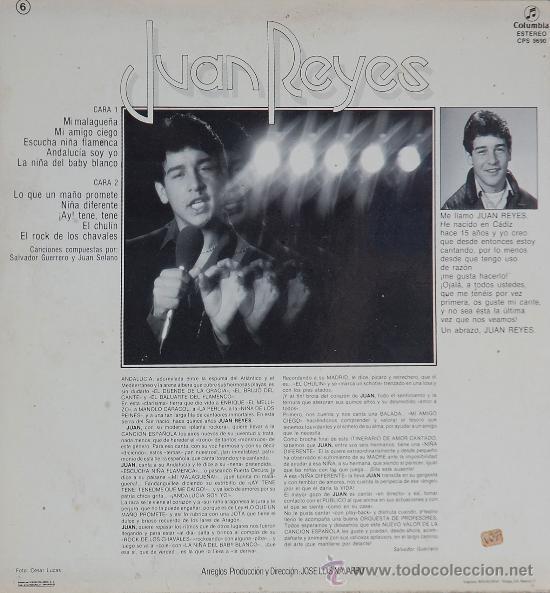 Discos de vinilo: JUAN REYES .. LP - Foto 2 - 12597348