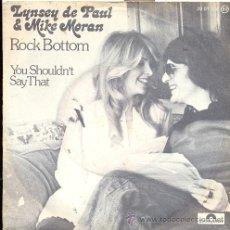 Discos de vinilo: LYNDSEY DE PAUL AND MIKE MORAN: ROCK BOTTOM +1 (GRAN BRETAÑA 1977). Lote 19114876