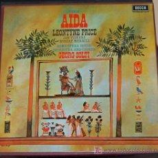 Discos de vinilo: LP ESTUCHE CON 3 UNIDADES MAS LIBRETO. VERDI. AIDA. LEONTYNE PRICE. GEORG SOLTI. Lote 54014954