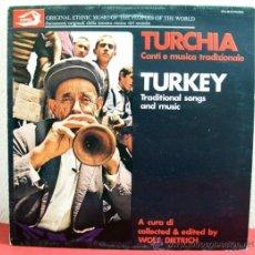 Discos de vinilo: TURKEY 'TRADITIONAL SONGS AND MUSIC' ITALIA LP33. Lote 8472503