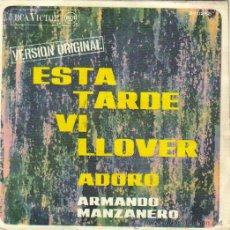 Disques de vinyle: ARMANDO MANZANERO***ESTA TARDE VI LLOVER***ADORO***VERSIÓN ORIGINAL RCA VICTOR 1.967. Lote 8684588
