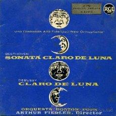 Disques de vinyle: BEETHOVEN SONATA CLARO DE LUNA DEBUSSY CLARO DE LUNA. RF-1535. Lote 8703244