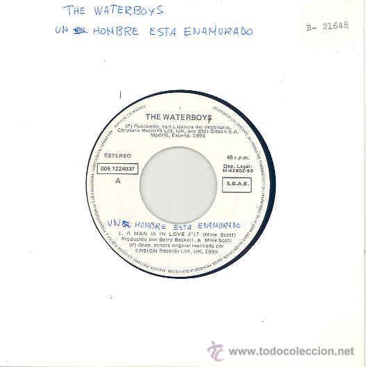 THE WATERBOYS - A MAN IS IN LOVE / SINGLE PROMOCIONAL ESPAÑOL DE 1990 (Música - Discos de Vinilo - Singles - Pop - Rock Internacional de los 80)