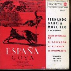 Discos de vinilo: FERNANDO GARCÍA MORCILLO - FIESTA EN GRANADA / EL TOREADOR / EL PICADOR / EL MONOSABIO - EP 1963. Lote 16417447