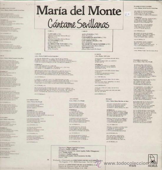 Discos de vinilo: MARIA DEL MONTE / Cantame sevillanas (LP HORUS de 1988) - Foto 2 - 13518275