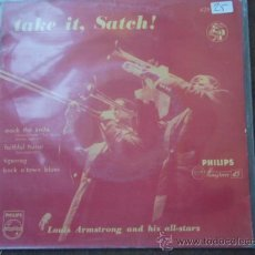 Discos de vinilo: LOUIS ARMSTRONG & HIS ALL-STARS - TAKE IT SATCH!, SWEDEN 1956 EP PHILIPS. Lote 9552337