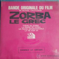Discos de vinilo: ZORBA LE GREC (THEME DE ZORBA - LA DANSE DE ZORBA - UN PECHE IMPARDONNABLE - LA VIE S'EN VA) EP45 . Lote 9600827