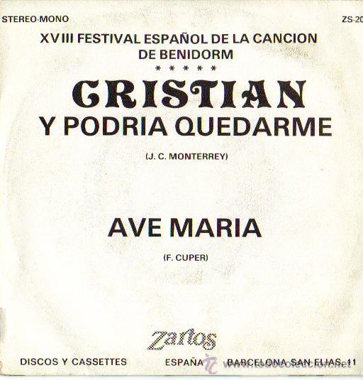 Discos de vinilo: CRISTIAN**Y PODRIA QUEDARME**XVIII FESTIVAL ESPAÑOL DE LA CANCIÓN DE BENIDORM***SINGLE 1976 - Foto 2 - 20604207